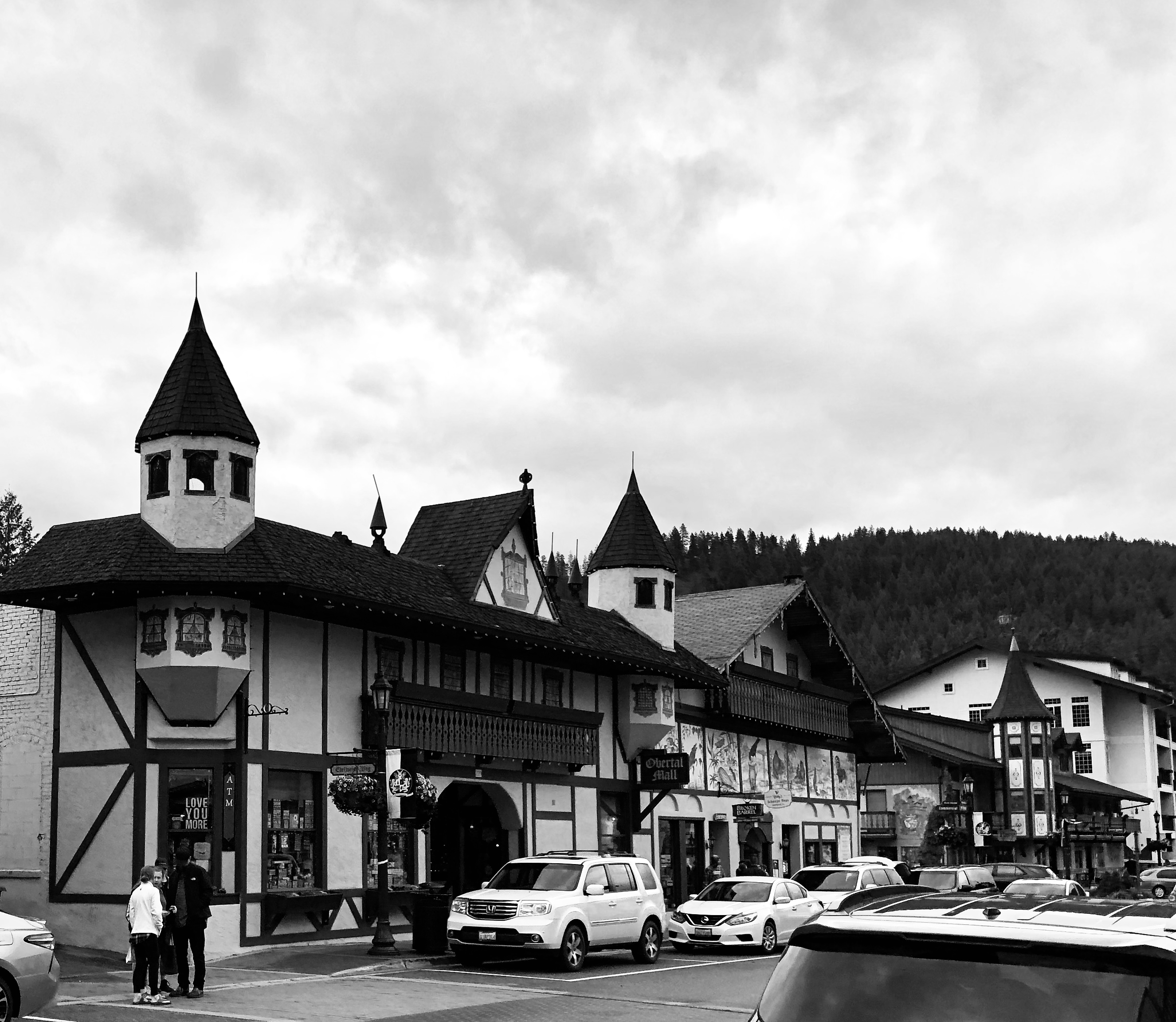 Photo of Leavenworth WA with city in Black and White