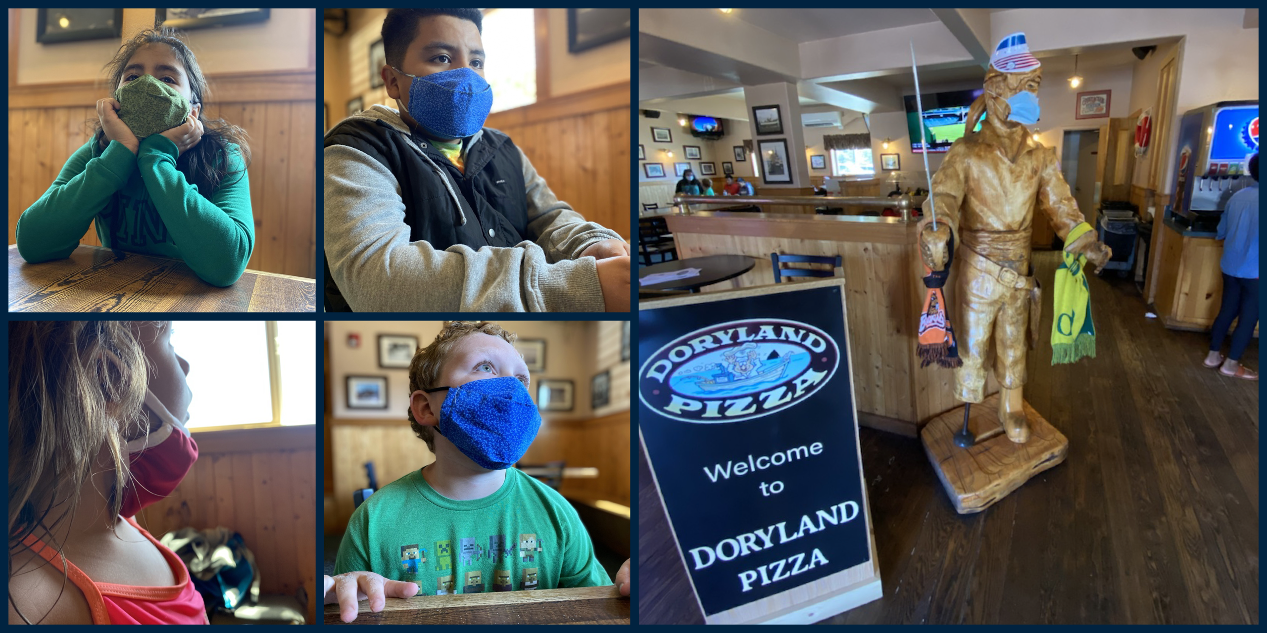 photo of kids in masks at Pizza Resturant