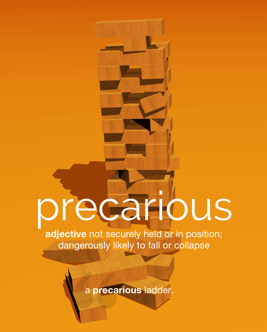 Definition from LookUp for precarious