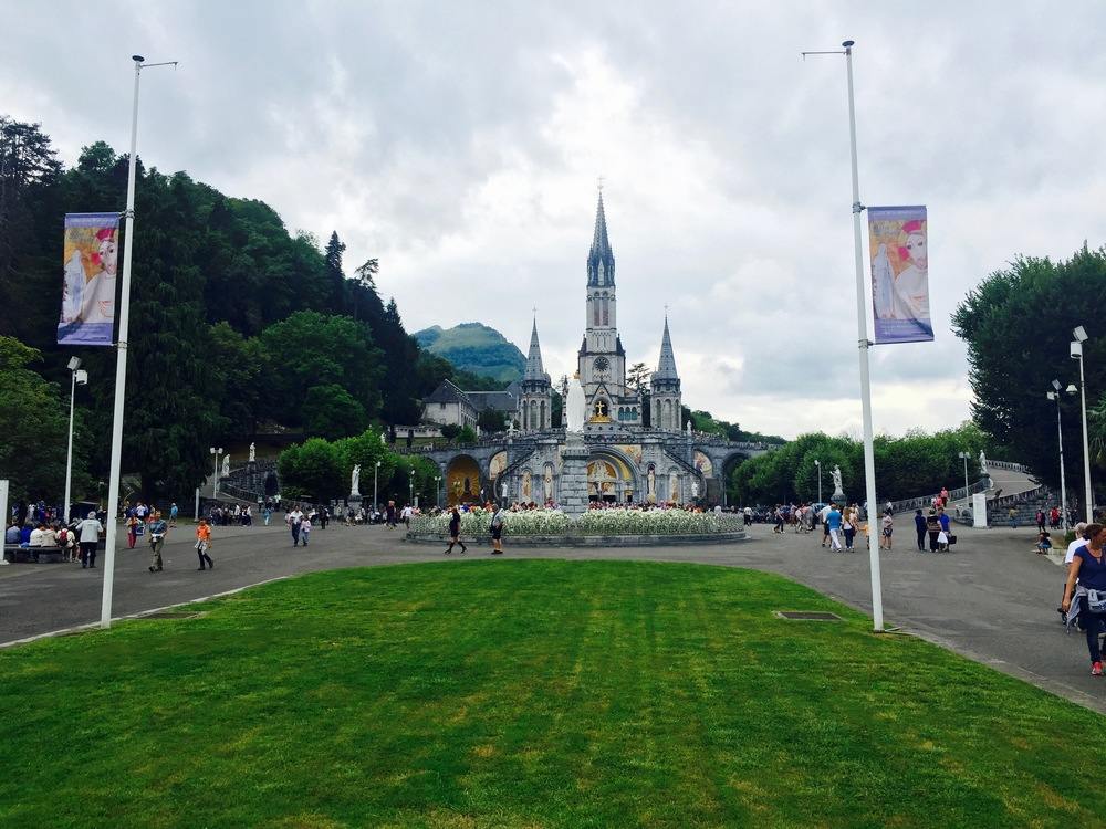 View of the Church at Lourdes in France.