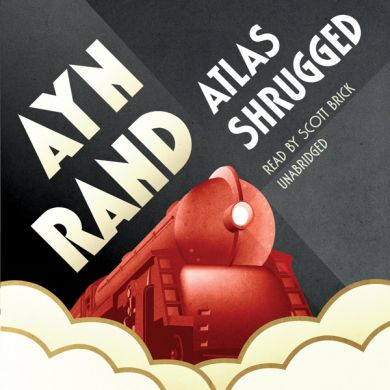 The Audiobook Cover for Ayn Rand's Atlas Shrugged. You can find it on  Amazon  and listen to yourself. I uploaded this graphic for my blog post  An Allegory of the Free Market and Capitalism, Atlas Shrugged Book Review .
