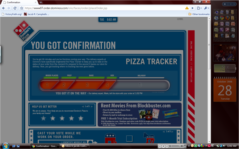 The pizza tracking page on Domino's