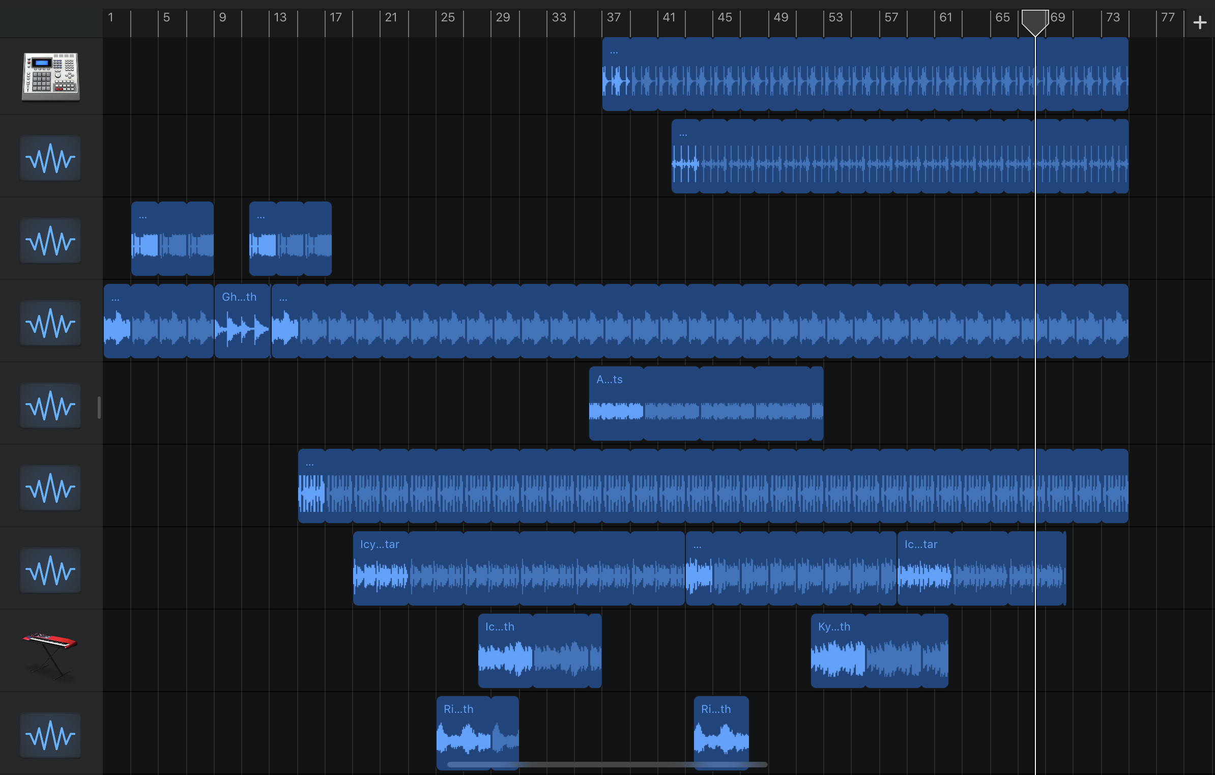 Screenshot of GarageBand Project