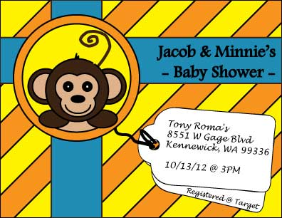 A graphic I created in  Adobe Illustrator. The front of the postcard displays a monkey I drew using shapes and merging them using the pathfinder function, two tags that state the event details and our registry. It is all designed to look like a gift with colored geometric design in the background and ribbon. There is a back side to the postcard that you can check out and I have uploaded the