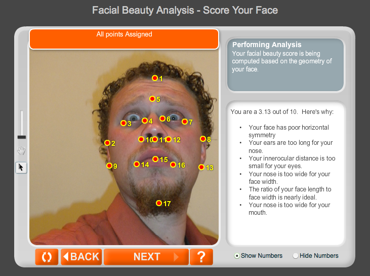 A photo I took when I was living in  Cusco Peru , It's probably not the best photo I could choose to check my facial symmetry, but it made me laugh.  My score from  Ana Faces Facial Beauty Analysis  was a 3.13.