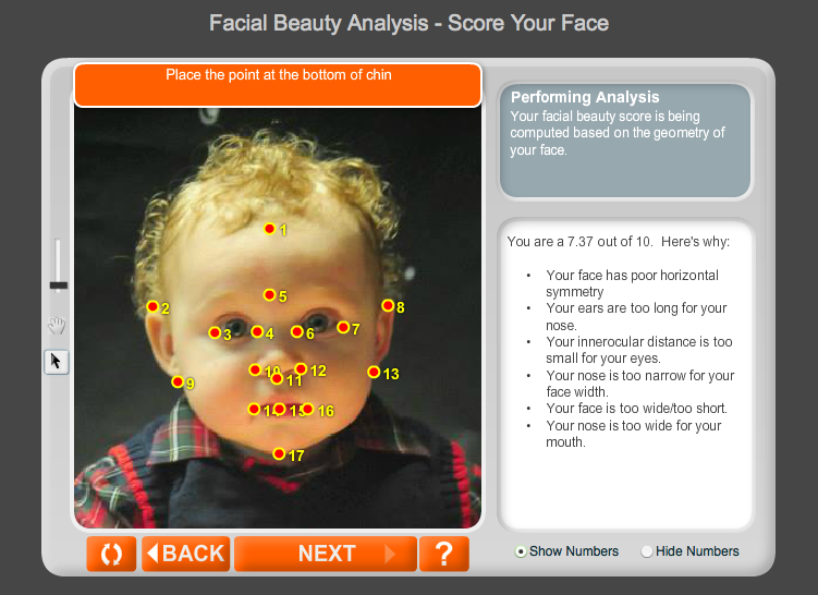 I used a photo of from  Mateo's baby dedication  to complete a  Ana Faces Facial Beauty Analysis .  He got a 7.37 although I think he's much cuter than that.