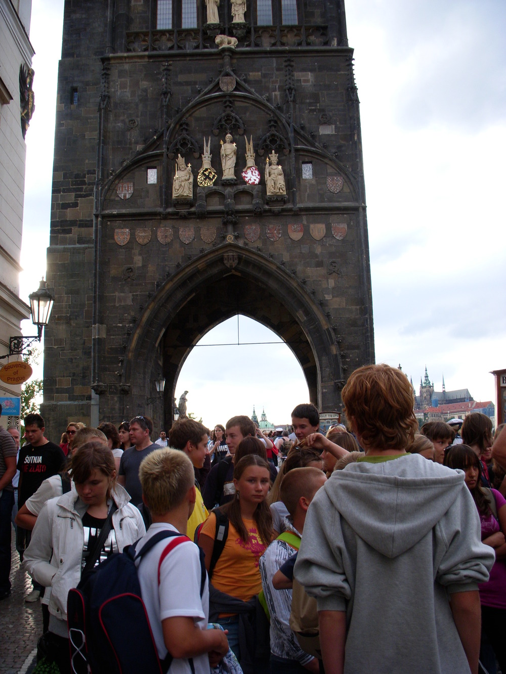 Crowd on Charles Bridges in Prague