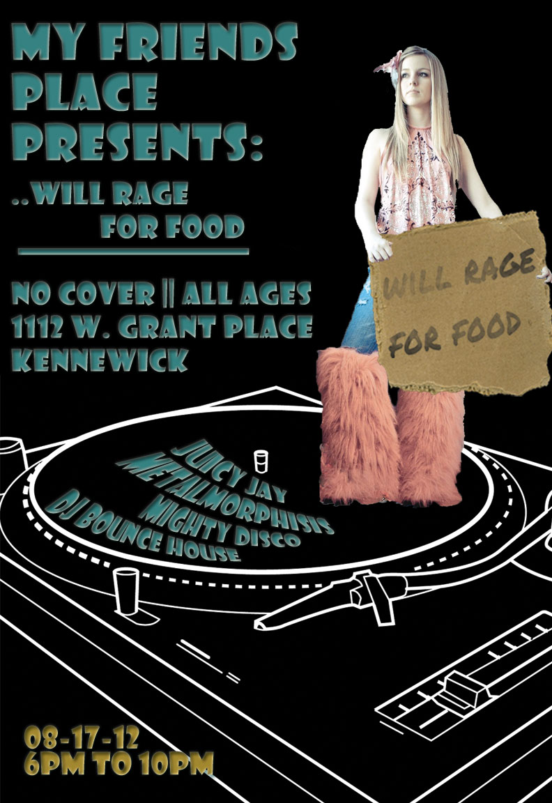 This is the poster I created for My Friends Place's Event, Will Rage for Food.